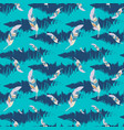 blue seamless pattern with feathers vector image