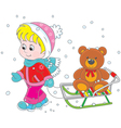 Child with a sled vector image vector image