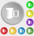 negative films icon symbol Symbols on eight flat vector image