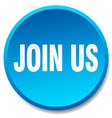 join us blue round flat isolated push button vector image