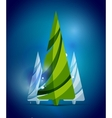 Christmas tree blue shiny abstract background vector image
