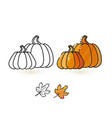 cute pumpkin and leaf line and colorful pumpki vector image