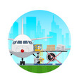 icon airplane with autoloader at the airport vector image