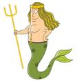 King of mermaids cartoon vector image