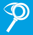 magnifying glass with eye icon white vector image