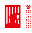 prison door icon with lovely bonus vector image