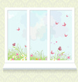 sunny meadow with flowers from window vector image