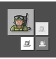 Icon Soldier in uniform with a gun in camouflage vector image