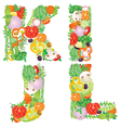 Alphabet of vegetables IJKL vector image