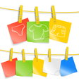 Color paper sheets on rope with pictures vector image