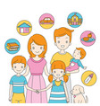 family standing together with icons vector image