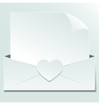 Blank sheet of paper envelope heart vector image