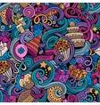 Cartoon hand-drawn doodles birthday theme seamless vector image
