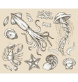 Hand drawn sketch set seafood sea animals vector image