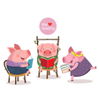 Three little pigs reading a book vector image