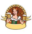 Beer girl emblem vector image