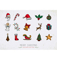 Colorful Vintage Christmas icons set vector image