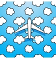 Plane on sky with clouds vector image