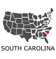 State of south carolina on map of usa vector image