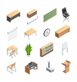 Classroom Interior Elements Icons Set vector image