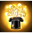 Shiny background with cylinder and magic light vector image