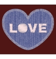 Denim patch with Love embroidery vector image