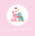 Card for Valentines Day Birds Heart vector image