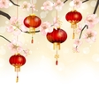 Background with Cherry Blossom and Hanging vector image