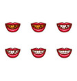 clipart of female mouths with dental problems vector image