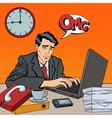 Depressed Businessman Stayed Late at Work Pop Art vector image