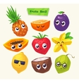 set of fruit characters cute cartoons vector image