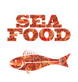 silhouette of fish seafood text vector image