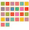 alphabet wooden english blocks vector image