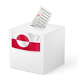 Ballot box with voting paper Greenland vector image