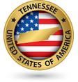 Tennessee state gold label with state map vector image vector image