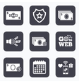 Cash money signs Currency with coins icons vector image vector image