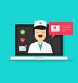doctor online flat cartoon vector image