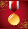 golden medal award win ribbon decoration vector image