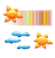 rainbow banner with smiley sun and some vector image