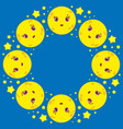round wreath of cartoon moons with stars on a vector image