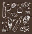 set of sketches beverage and food on a dark vector image