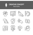 Creativie Concept Linear Monochrome Icons vector image