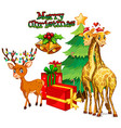 Christmas theme with deer and giraffe vector image vector image
