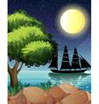 A black ship at the sea under the bright moon vector image