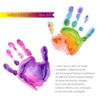 watercolor print of two hands vector image