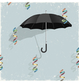 Black umbrella with colorful ribbons vector image
