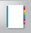Book Cover with Tab Design Style Template vector image