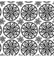 Lace seamless pattern with black flowers on white vector image