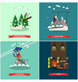 set of winter holiday posters in flat style vector image vector image