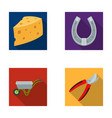 cheese with holes a trolley for agricultural work vector image